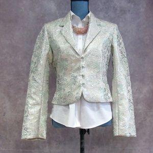 Old Navy Ivory Silk Green Metallic Blazer Size M
